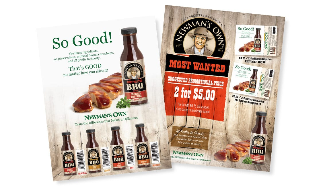 Sales sheet design for Newman's Own sauces