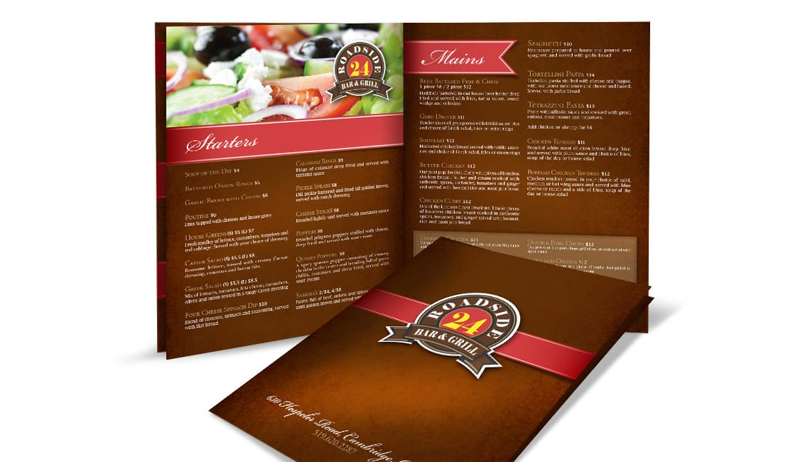 Menu design for Roadside Bar & Grill